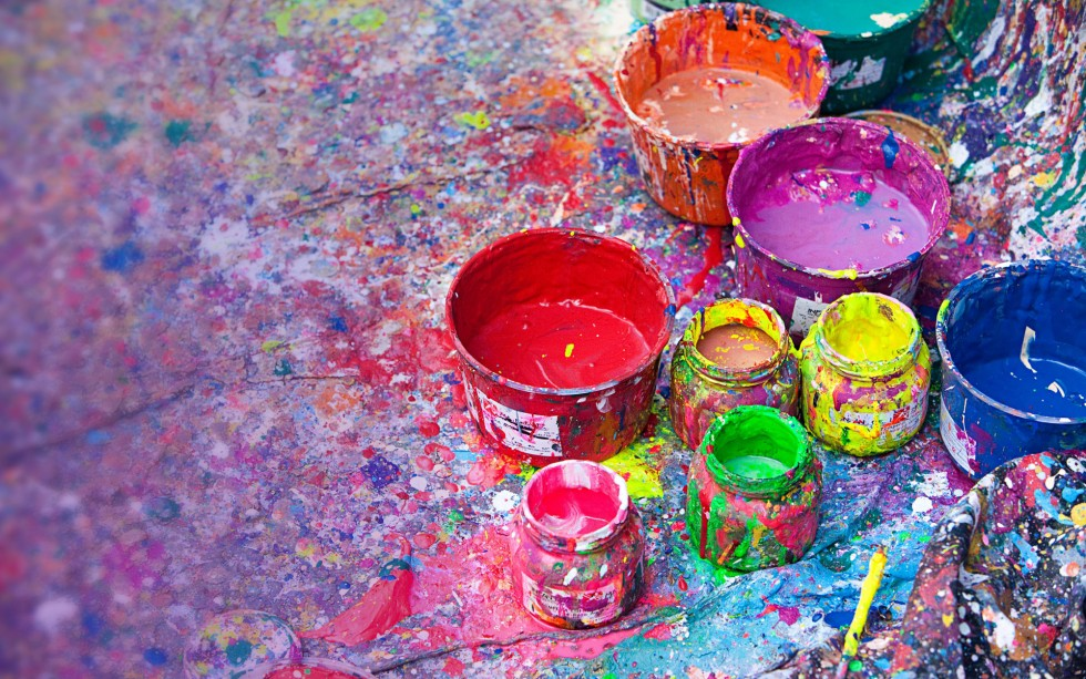 Splattered paint and pots